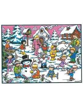 coloriage les enfants dans la neige
